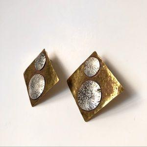Vintage | Hammered Metal Statement Stud Earrings